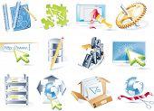 Versión de la trama del conjunto de iconos de desarrollo de sitio web