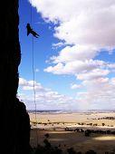Rock Climber Rappelling In Mt. Arapiles, Australia