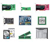 Vector white computer icon set. Part 4. Computer parts
