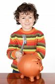 Adorable Child With Money Box Of Piggy