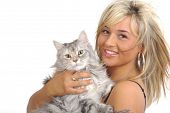Beautiful woman with silver cat