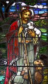 image of the lost sheep  - Jesus the Good Sheppard Stained Glass Window - JPG