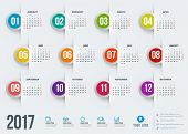 Calendar For 2017 Year. Vector Design Stationery Template. Week Starts Sunday. Flat Style Color Vect poster