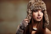 Beautiful woman in winter  coat.