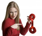 Doubting Woman With Furry Handcuffs