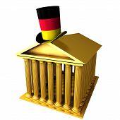 German Top Hat Standing Over Stocks Exchange Building