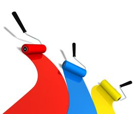 foto of color wheel  - 3D rendered roller brushes in three color - JPG