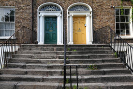 stock photo of front door  - first floor and entrance to beautiful building - JPG