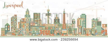 Liverpool Skyline with Color Buildings