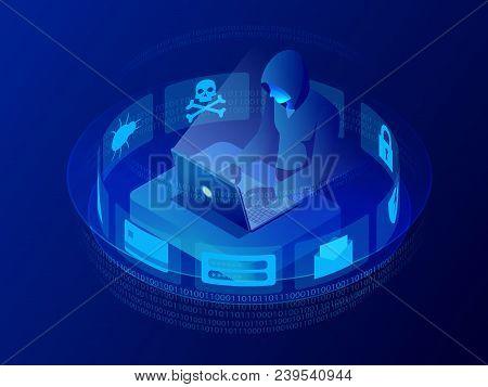Isometric Vector Internet Hacker Attack