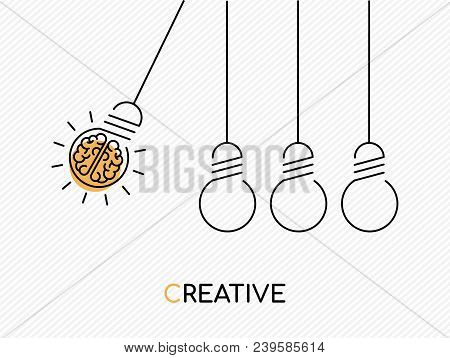 poster of Creative Idea Concept Illustration In Modern Outline Design With Human Brain As Electric Light Bulb.