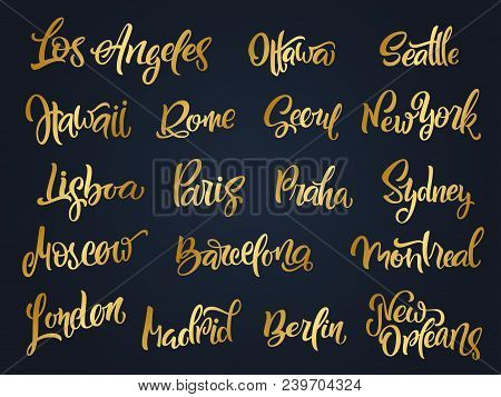 Set Of Handwritten City Names