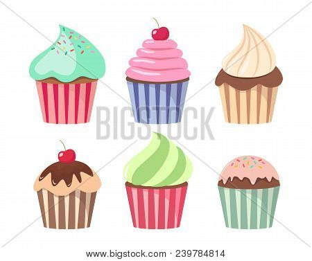 Cartoon Cupcake Set Colorful Cupcakes
