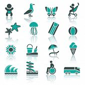 Tourism, Recreation & Vacation, Icons Set.
