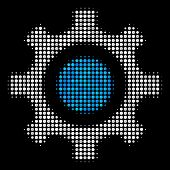 Cogwheel Halftone Vector Icon. Illustration Style Is Pixel Iconic Cogwheel Symbol On A Black Backgro poster
