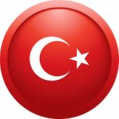 Turkey Round Flag