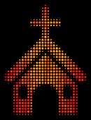 Pixelated Christian Church Icon. Bright Pictogram In Fire Color Tones On A Black Background. Vector  poster