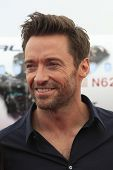LOS ANGELES - SEPT 23:  Hugh Jackman arrives as Virgin America unveils new DreamWorks 'Reel Steel' p