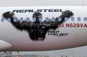 LOS ANGELES - SEPT 23:  Real Steel Logo on Virgin America Airplane as Virgin America unveils new DreamWorks 'Reel Steel' plane at LAX Airport on September 23, 2011 in Los Angeles, CA