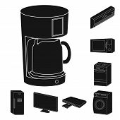 Smart Home Appliances Black Icons In Set Collection For Design. Modern Household Appliances Vector S poster