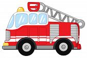stock photo of ladder truck  - Vector illustration of a cute fire truck - JPG