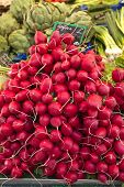 Radishes in a street market