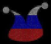 Halftone Joker Hat Icon Colored In Russia Official Flag Colors On A Dark Background. Vector Composit poster