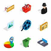 Society Today Icons Set. Isometric Set Of 9 Society Today Vector Icons For Web Isolated On White Bac poster