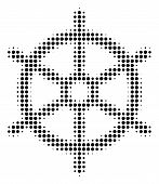 Dotted Black Boat Steering Wheel Icon. Vector Halftone Concept Of Boat Steering Wheel Pictogram Form poster
