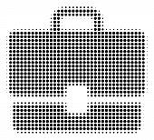 Pixel Black Case Icon. Vector Halftone Collage Of Case Symbol Organized From Circle Pixels. poster