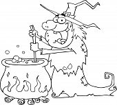 Outlined Ugly Halloween Witch Preparing A Potion