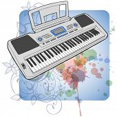Electronic musical midi keyboard - synth & floral calligraphy ornament - a stylized orchid, color paint background. Bitmap copy my vector ID 70185748