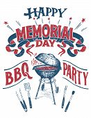 Happy Memorial Day, Barbecue Party Sign. Hand Lettering Cookout Bbq Party Invitation. Sketch Of Barb poster