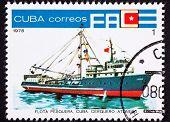 Cancelado cubano franqueo sello océano atunero de flota pesquera