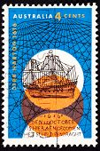 Canceled Australian Postage Stamp Dutch Dirk Hartog Sailing Ship Crisscross
