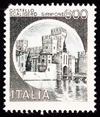 Canceled Italian Postage Stamp Scaliger Castle, Castello Scaligero, Sirmione, Italy