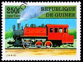 Canceled Guinea Train Postage Stamp Old Railroad Steam Engine Locomotive