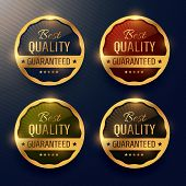 Best Quality Guaranteed Premium Gold Label And Badges Vector Design poster