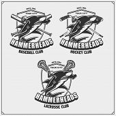 Football, Baseball, Lacrosse And Hockey Badges And Labels. Sport Club Emblems With Hammerhead Shark. poster