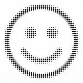Pixel Black Glad Smiley Icon. Vector Halftone Concept Of Glad Smiley Symbol Formed From Round Elemen poster