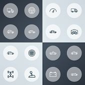 Automobile Icons Line Style Set With Sports Auto, Crossover, Truck And Other Sedan Elements. Isolate poster