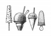 Set Of Frozen And Ice-based Dessert. Kulfi, Shaved Snow, Snow Cones And Ice Cream. Vector Hand Drawn poster