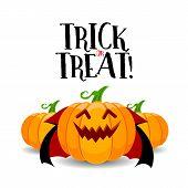 Cartoon Dracula Pumpkin Character Design. Trick Or Treat, Happy Halloween Day Concept. Illustration  poster