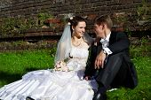 Happy Bride And Groom Sit On The Grass