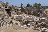The ruins of the ancient amphitheater. Turkey