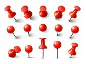 Red Pushpin Top View. Thumbtack For Note Attach Collection. Realistic 3d Push Pins Pinned In Differe poster