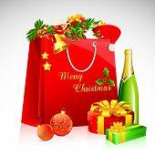 shopping bag with christmas goodies