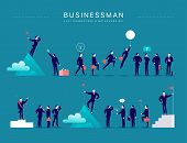 Vector Flat Illustration With Businessman Office Characters & Metaphors Isolated On Blue Background. poster