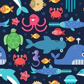 Seamless Pattern Of Sea Underwater Life. Vector Flat Illustrations. Under Water Marine Wildlife, Fis poster