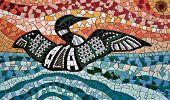 Common loon, tile mosaic